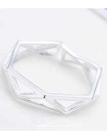 Personalized Silver Color Triangle Shape Decorated Pure Color Opening Ring