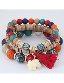 Elegant Red Elephant&tassel Pendant Decorated Multi-layer Bracelet