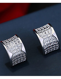 Fashion Silver Color Diamond Decorated Pure Color Simple Earrings