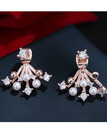 Fashion Rose Gold Pearls&diamond Decorated Pure Color Simple Earrings