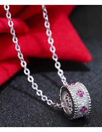 Sweet Silver Color+pink Circular Ring Pendant Decorated Color Matching Necklace