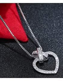 Sweet Silver Color Heart Shape Decorated Pure Color Simple Necklace