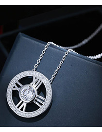 Sweet Silver Color Diamond Decorated Hollow Out Design Pure Color Necklace