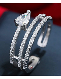 Trendy Silver Color Water Drop Shape Diamond Decorated Pure Color Opening Ring