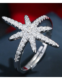 Trendy Silver Color Starfish Shape Decorated Pure Color Simple Ring