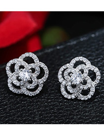 Elegant Silver Color Flower Shape Decorated Pure Color Hollow Out Earrings