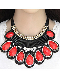 Fashion Red Water Drop Diamond Decorated Pure Color Collar Necklace