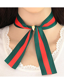Trendy Red+olive Bowknot Shape Decorated Color Matching Simple Necklace