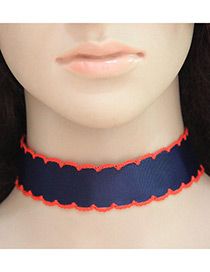 Trendy Red+blue Color Matching Decorated Simple Design Choker