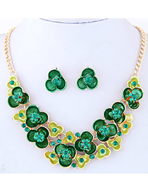 Fashion Green Diamond Decorated Flower Shape Simple Jewelry Set