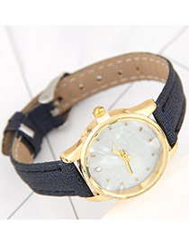 Fashion Blue Round Dial Shape Decorated Pure Color Watch