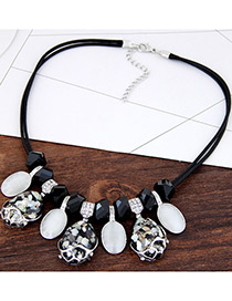 Fashion White+black Diamond Decorated Water Drop Shape Multi-color Necklace