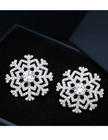 Elegant Silver Color Snowflower Shape Decorated Pure Color Earrings