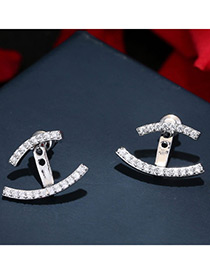 Trendy Silver Color Diamond Decorated Pure Color Simple Earrings