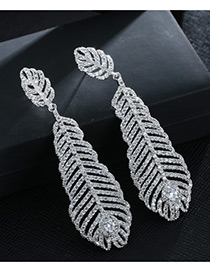 Trendy Silver Color Leaf Shape Decorated Hollow Out Design Pure Color Earrings