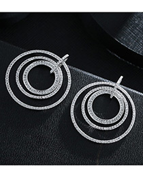 Trendy Silver Color Diamond Decorated Circular Ring Shape Pure Color Earrings