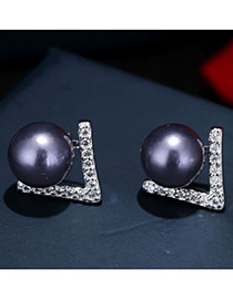 Trendy Purple+silver Color Pearl&diamond Decorated Color Matching Simple Earrings