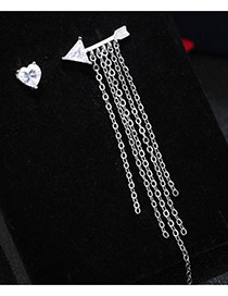 Trendy Silver Color Diamond&chain Decorated Allow Shape Pure Color Earrings
