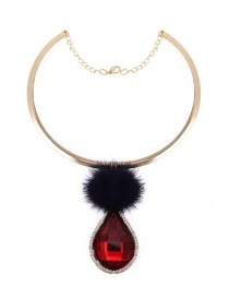 Vintage Red Oval &fuzzy Ball Decorated Simple Short Chain Necklace