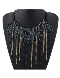 Elegant Dark Gray Metal Tassel Pendant Decorated Simple Short Chain Necklace