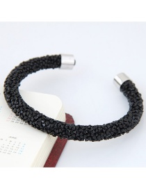 Trendy Black Pure Color Decorated Simple Opening Bracelet