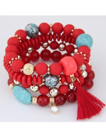 Trendy Red Tassel Pendant Decorated Color Matching Multi-layer Bracelet