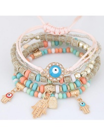 Trendy Light Pink Palm&eys Pendant Decorated Color Matching Multi-layer Bracelet