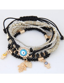 Trendy Black Palm&eys Pendant Decorated Color Matching Multi-layer Bracelet