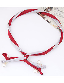 Fashion Red + Gray Pearl Decorated Color Matching Simple Design Headbands