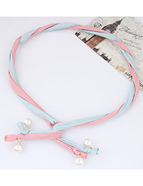 Fashion Blue + Pink Pearl Decorated Color Matching Simple Design Headbands