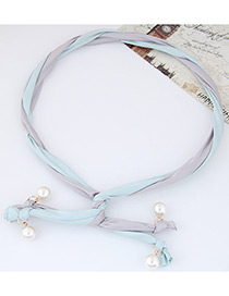 Fashion Light Blue + Black Pearl Decorated Color Matching Simple Design Headbands