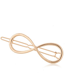 Trendy Gold Color Symbol 8 Shape Decorated Pure Color Simple Hair Clip