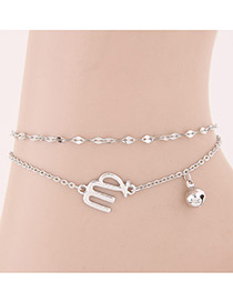 Fashion Silver Color Constellation Shape Decorated Multi-layer Design Pure Color Anklet