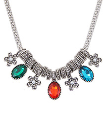 Fashion Multi-color Flower Shaped Decorated Color Matching Simple Necklace