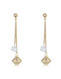 Elegant Gold Color Hollow Out Diamond Shape Pendant Decorated Simple Long Earrings