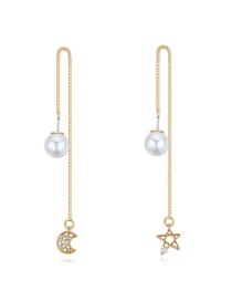 Elegant Gold Color Moon&shape Shape Pendant Decorated Simple Long Chain Earrings