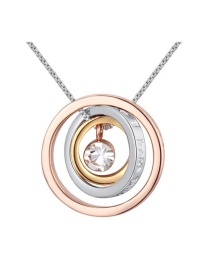 Elegant Gold Color Round Shape Pendant Decorated Simple Color-matching Necklace