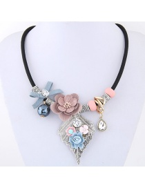 Elegant Pink Flower&leaf Decorated Simple Short Chain Necklace