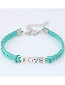 Fashion Blue Letter Shape Decorated Simple Double Layer Bracelet