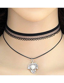 Vintage Black Leaf Shape Pendant Decorated Double Layer Choker