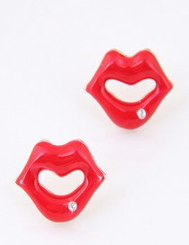 Sweet Red Lip Shape Decorated Pure Color Earrings