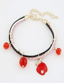 Sweet Red Apple Pendant Decorated Multi-layer Bracelet