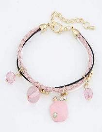 Sweet Pink Apple Pendant Decorated Multi-layer Bracelet