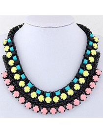 Fashion Pink+yellow Color Matching Decorated Multi-layer Necklace