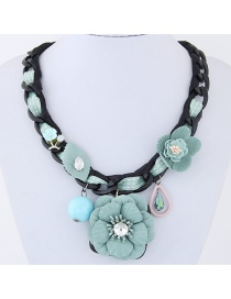 Sweet Light Green Flowers Decorated Pure Color Necklace