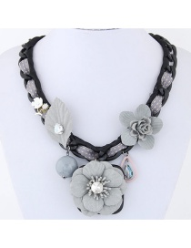 Sweet Gray Flowers Decorated Pure Color Necklace