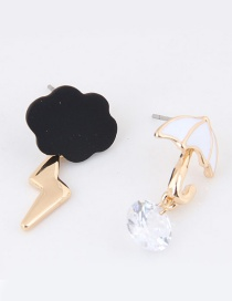 Sweet White+black Cloud&umbrella Decorated Asymmetric Earrings