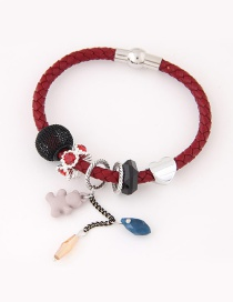 Trendy Red Bear Pendant Decorated Simple Bracelet
