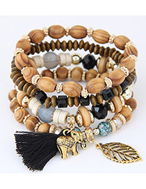 Trendy Black Elephant&tassel Decorated Multi-layer Bracelet