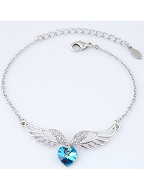 Fashion Blue Wings&heart Shape Decorated Simple Bracelet